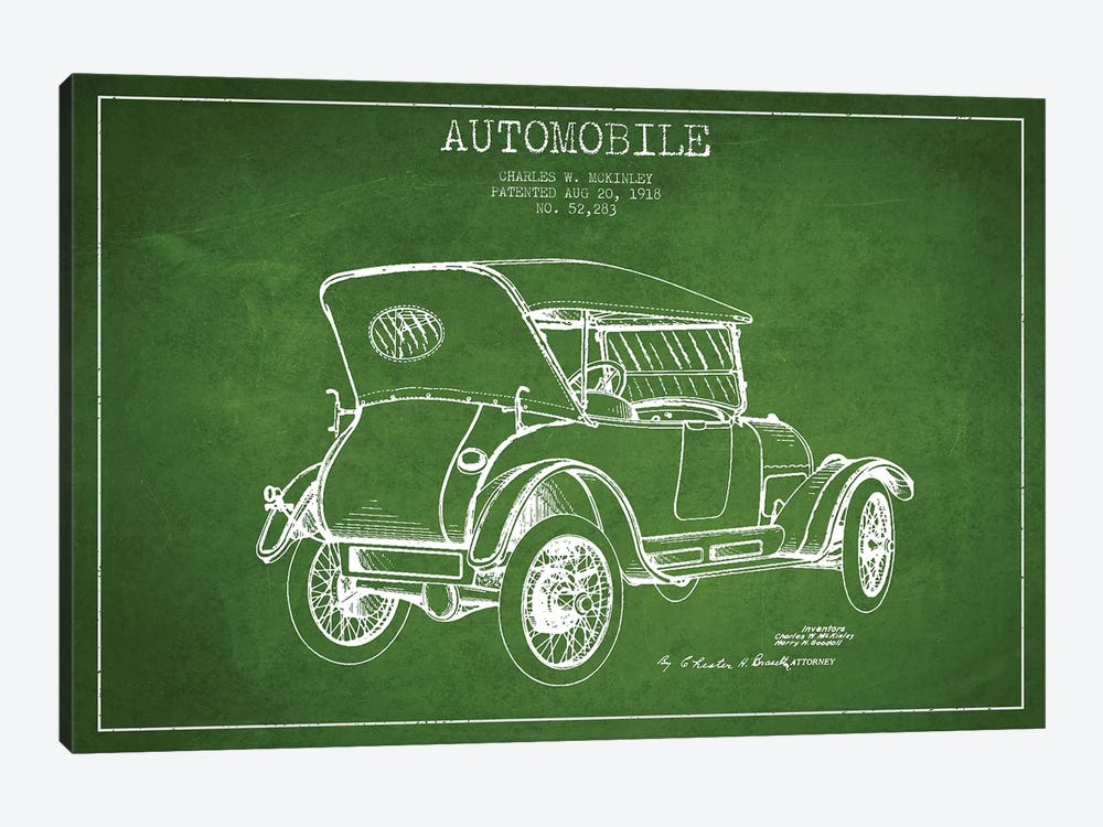 Charles W. McKinley Automobile Patent Sketch (Green) by Aged Pixel 1-piece Canvas Wall Art