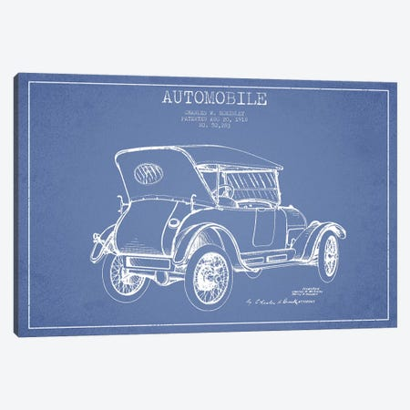 Charles W. McKinley Automobile Patent Sketch (Light Blue) Canvas Print #ADP2811} by Aged Pixel Canvas Print