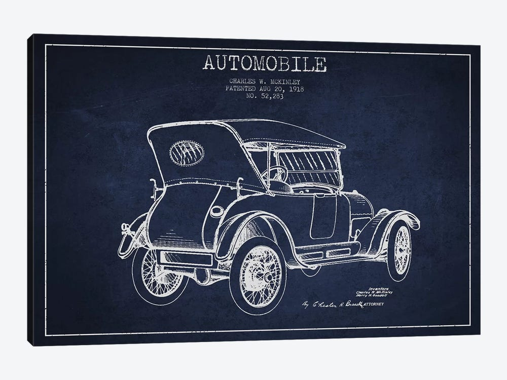 Charles W. McKinley Automobile Patent Sketch (Navy Blue) by Aged Pixel 1-piece Canvas Wall Art