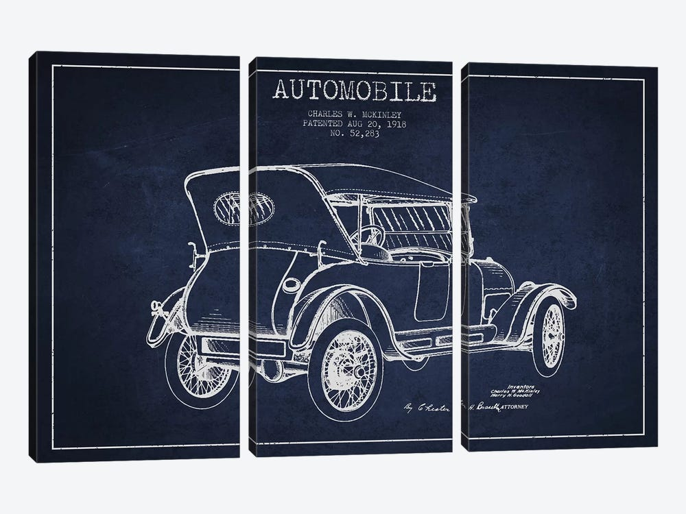 Charles W. McKinley Automobile Patent Sketch (Navy Blue) by Aged Pixel 3-piece Canvas Artwork