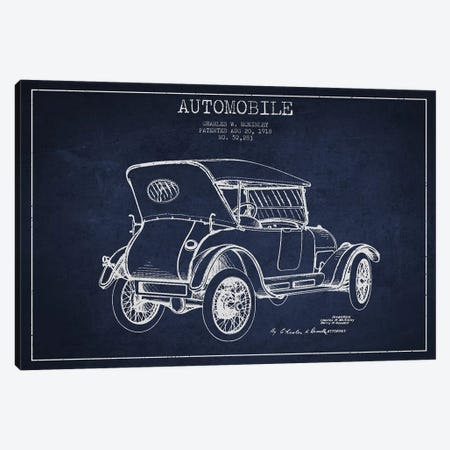 Charles W. McKinley Automobile Patent Sketch (Navy Blue) Canvas Print #ADP2812} by Aged Pixel Art Print