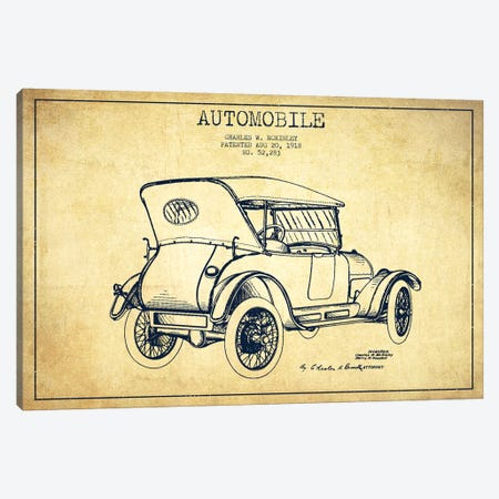 Charles W. McKinley Automobile Patent Sketch (Vintage) Canvas Print #ADP2813} by Aged Pixel Art Print