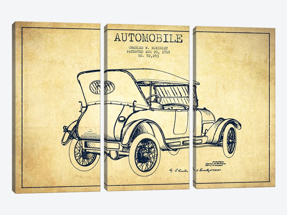 Charles W. McKinley Automobile Patent Sketch (Vintage) by Aged Pixel 3-piece Canvas Art Print