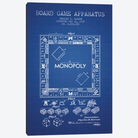Charles B. Darrow Monopoly Patent Sketch (Blue Grid) Canvas Print #ADP2814} by Aged Pixel Canvas Artwork
