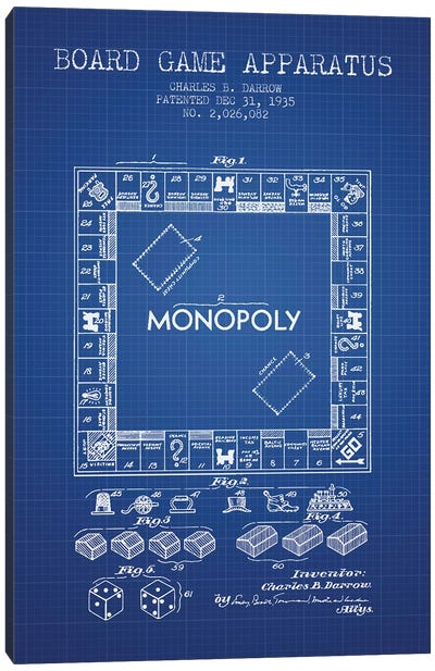 Charles B. Darrow Monopoly Patent Sketch (Blue Grid) Canvas Art Print