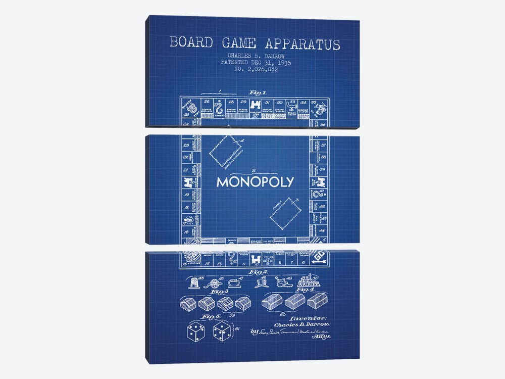 Charles B. Darrow Monopoly Patent Sketch (Blue Grid) by Aged Pixel 3-piece Canvas Artwork