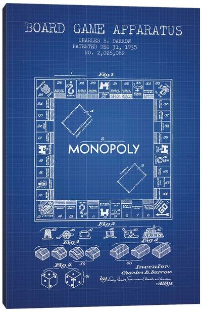 Charles B. Darrow Monopoly Patent Sketch (Blue Grid) Canvas Art Print