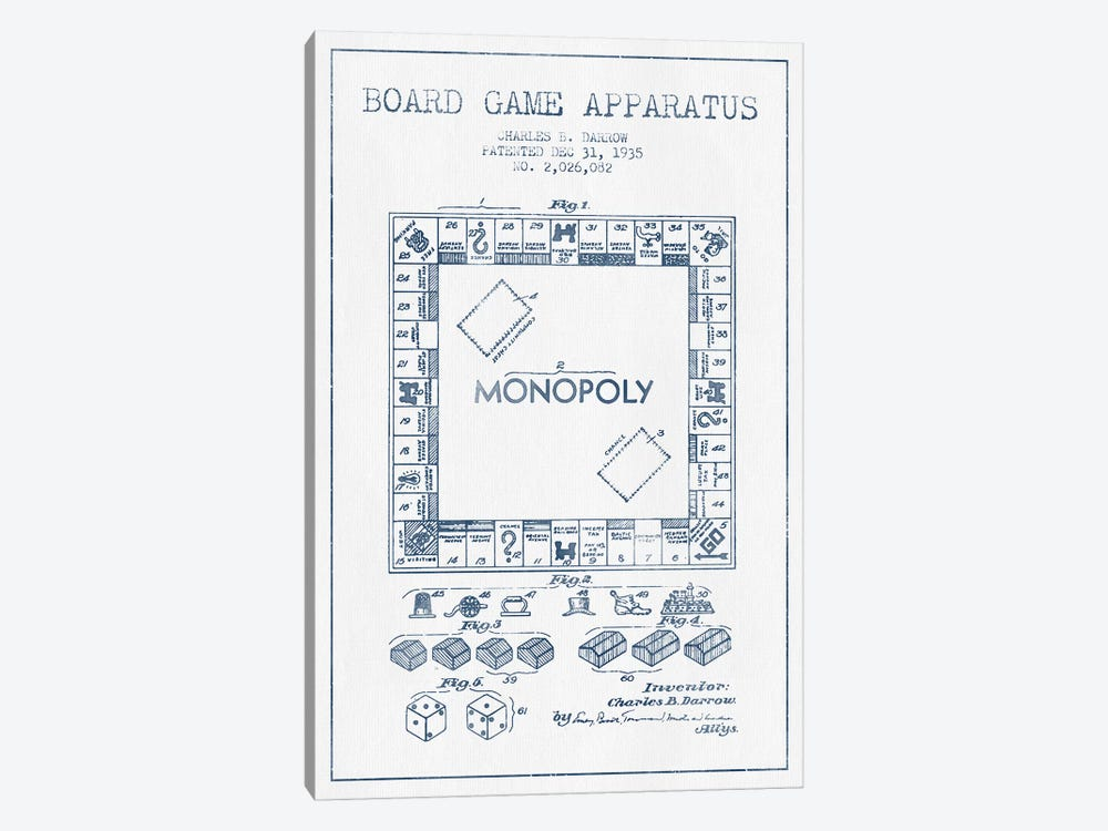 Charles B. Darrow Monopoly Patent Sketch (Ink) by Aged Pixel 1-piece Art Print