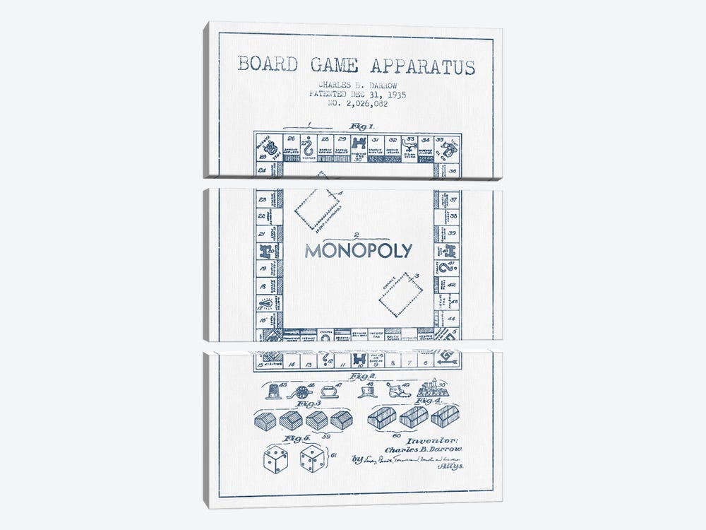 Charles B. Darrow Monopoly Patent Sketch (Ink) by Aged Pixel 3-piece Canvas Art Print