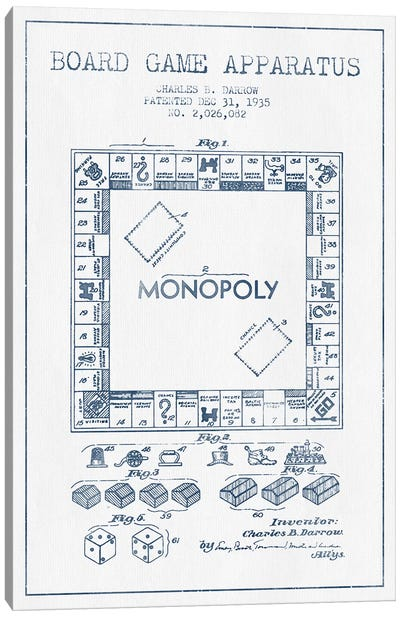 Charles B. Darrow Monopoly Patent Sketch (Ink) Canvas Art Print