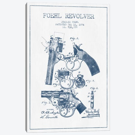 Charles Foehl Foehl Revolver Patent Sketch (Ink) Canvas Print #ADP2816} by Aged Pixel Canvas Art