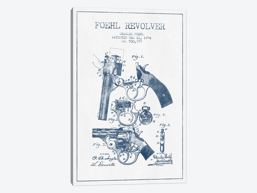 Charles Foehl Foehl Revolver Patent Sketch (Ink) by Aged Pixel 1-piece Canvas Art