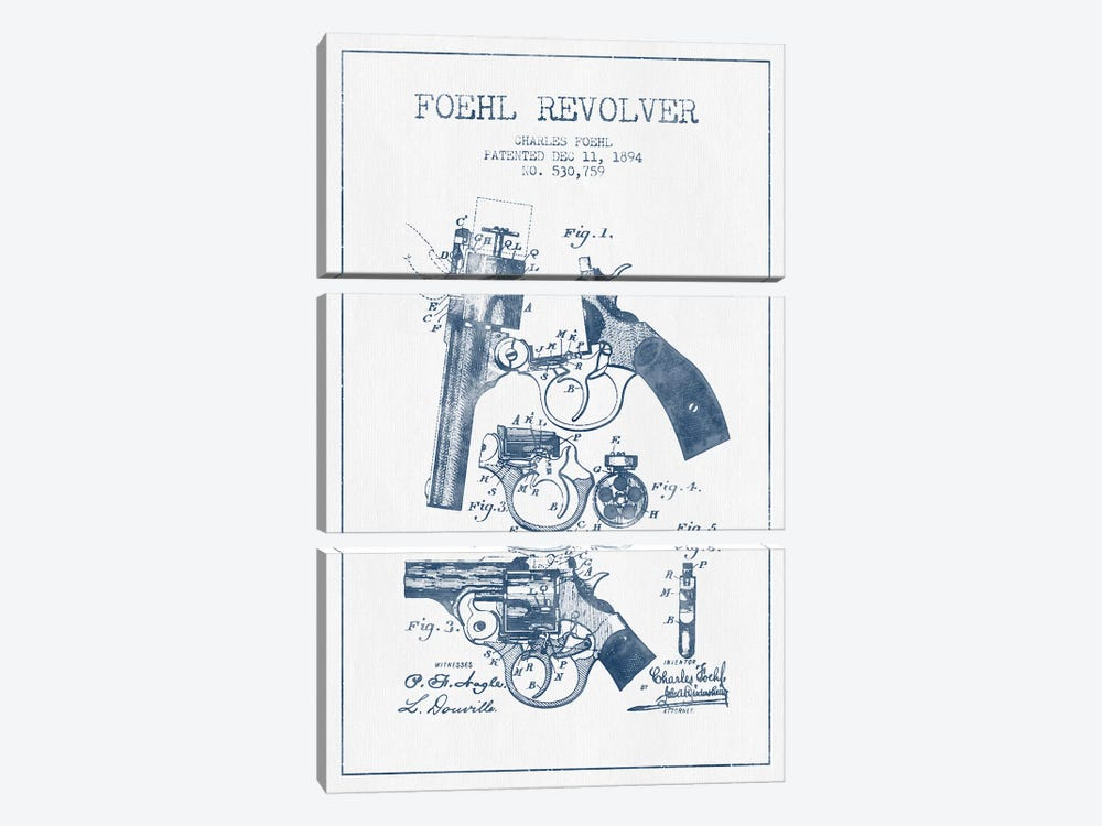 Charles Foehl Foehl Revolver Patent Sketch (Ink) by Aged Pixel 3-piece Canvas Wall Art