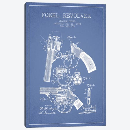 Charles Foehl Foehl Revolver Patent Sketch (Light Blue) Canvas Print #ADP2817} by Aged Pixel Canvas Wall Art