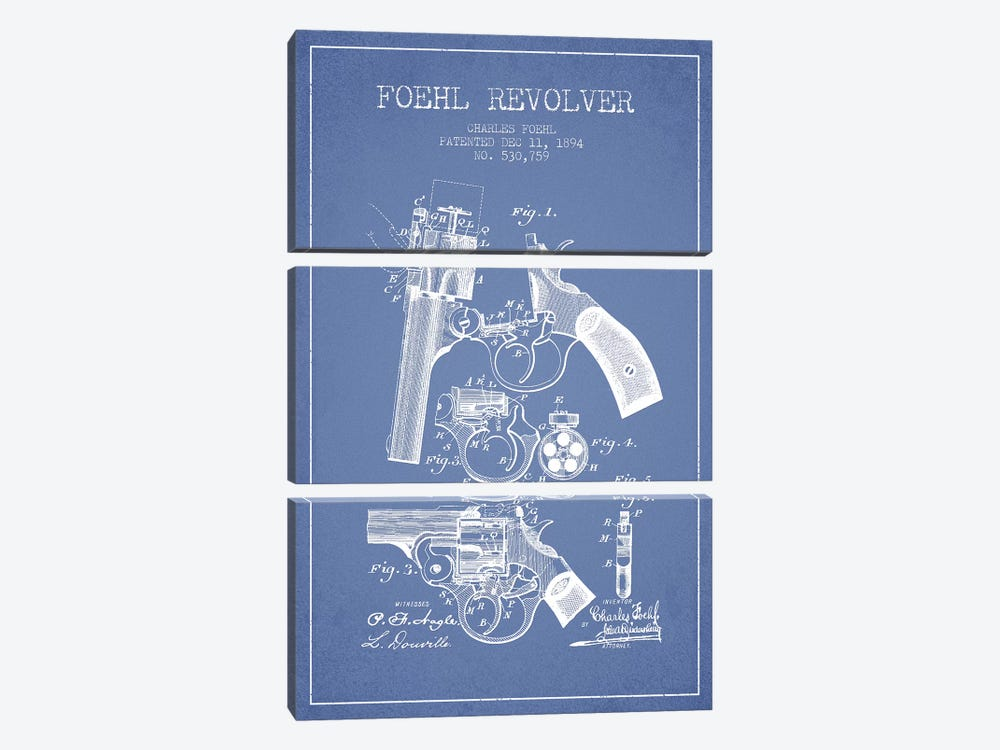 Charles Foehl Foehl Revolver Patent Sketch (Light Blue) by Aged Pixel 3-piece Art Print