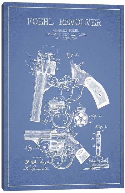 Charles Foehl Foehl Revolver Patent Sketch (Light Blue) Canvas Art Print