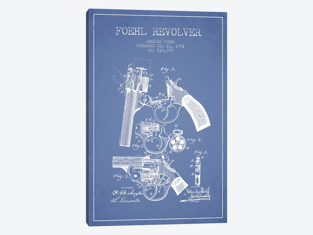 Charles Foehl Foehl Revolver Patent Sketch (Light Blue) by Aged Pixel 1-piece Canvas Print