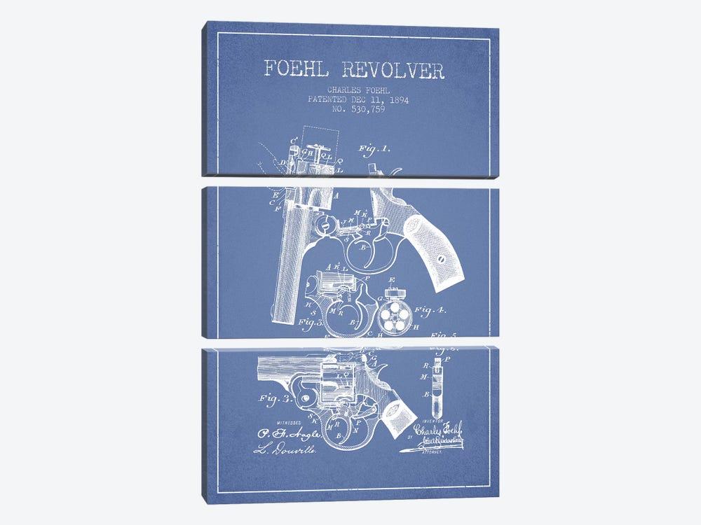 Charles Foehl Foehl Revolver Patent Sketch (Light Blue) by Aged Pixel 3-piece Art Print