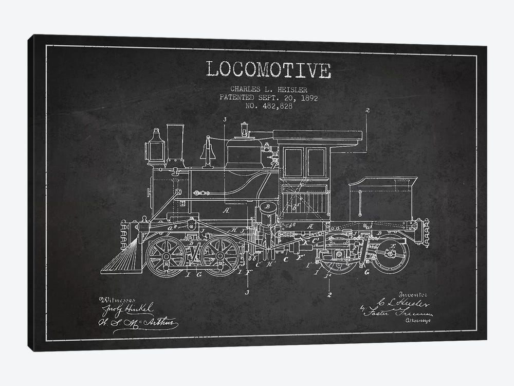 Charles L. Heisler Locomotive Pattern Sketch (Charcoal) by Aged Pixel 1-piece Canvas Wall Art