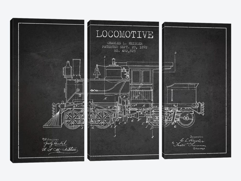 Charles L. Heisler Locomotive Pattern Sketch (Charcoal) by Aged Pixel 3-piece Canvas Wall Art