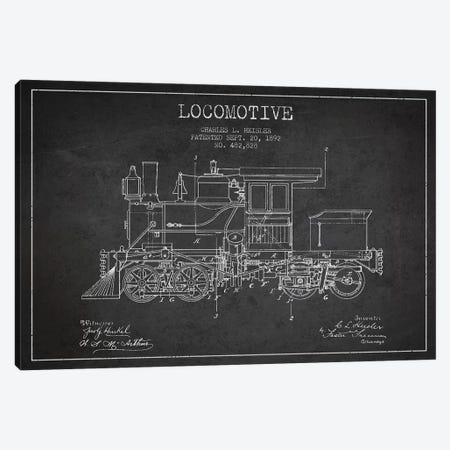 Charles L. Heisler Locomotive Pattern Sketch (Charcoal) Canvas Print #ADP2818} by Aged Pixel Canvas Print
