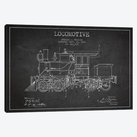 Charles L. Heisler Locomotive Pattern Sketch (Charcoal) Canvas Print #ADP2818} by Aged Pixel Canvas Print