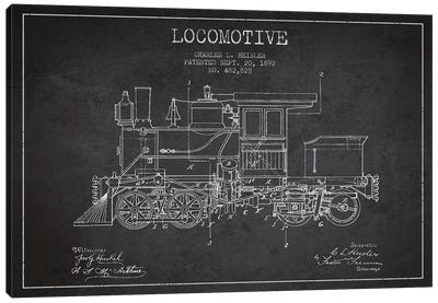 Charles L. Heisler Locomotive Pattern Sketch (Charcoal) Canvas Art Print
