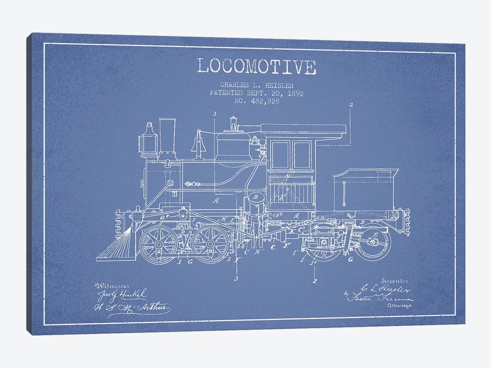 Charles L. Heisler Locomotive Pattern Sketch (Light Blue) by Aged Pixel 1-piece Canvas Art Print