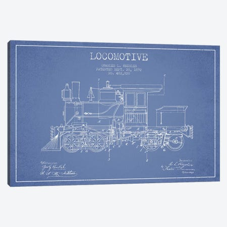 Charles L. Heisler Locomotive Pattern Sketch (Light Blue) Canvas Print #ADP2819} by Aged Pixel Canvas Print