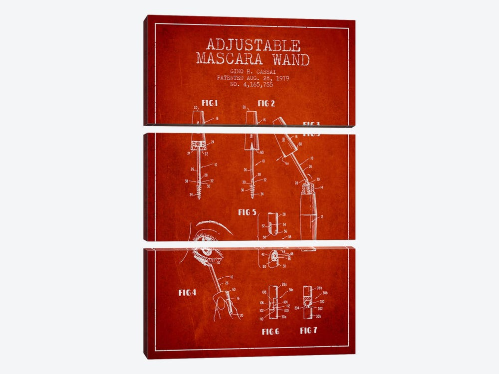 Adjustable Mascara Red Patent Blueprint by Aged Pixel 3-piece Art Print