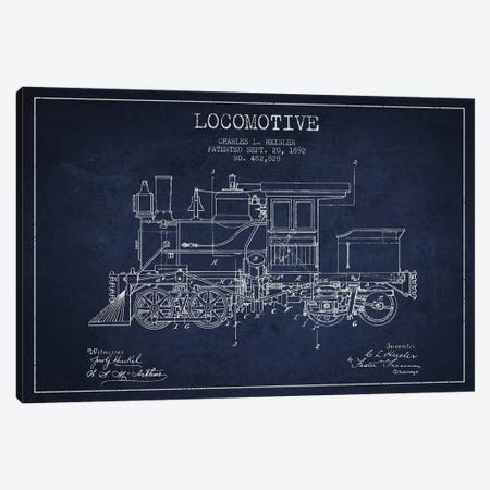 Charles L. Heisler Locomotive Pattern Sketch (Navy Blue) Canvas Print #ADP2820} by Aged Pixel Canvas Artwork