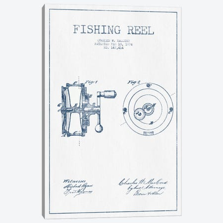 Charles W. MacCord Fishing Reel Patent Sketch (Ink) Canvas Print #ADP2822} by Aged Pixel Canvas Wall Art