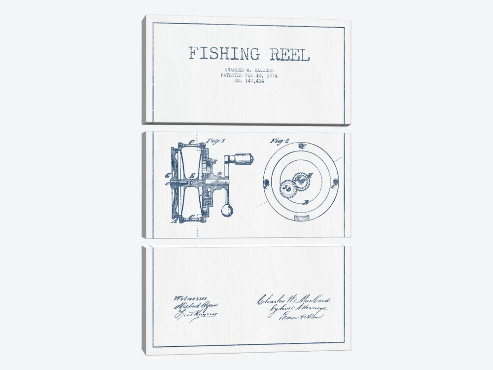 Charles W. MacCord Fishing Reel Patent Sketch (Ink) by Aged Pixel 3-piece Canvas Art Print