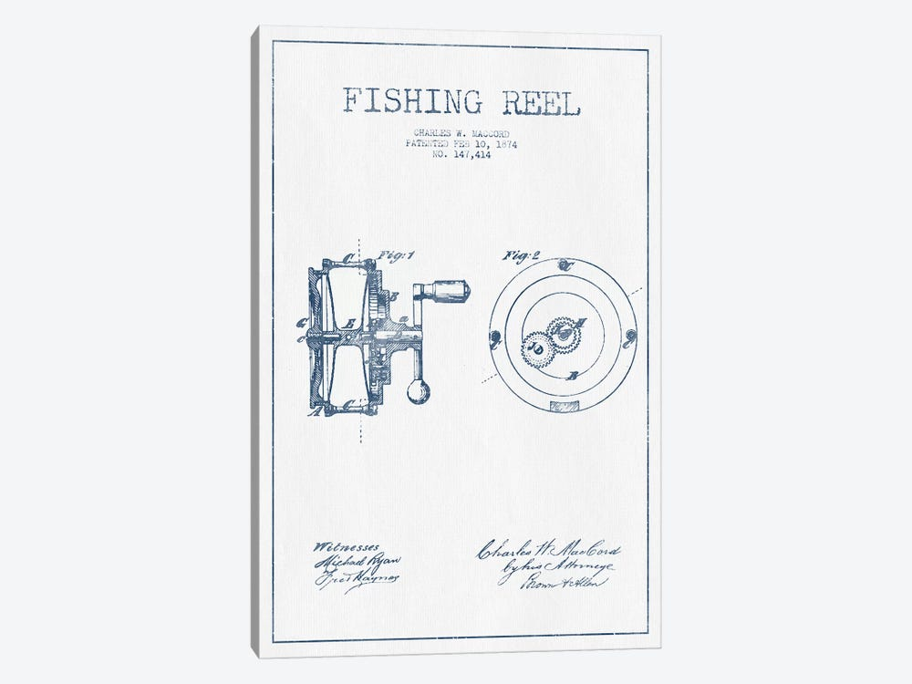 Charles W. MacCord Fishing Reel Patent Sketch (Ink) by Aged Pixel 1-piece Canvas Print