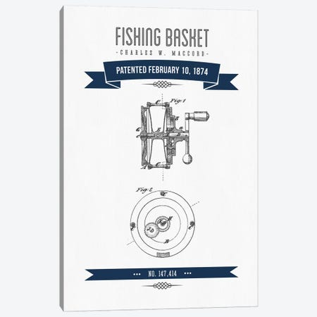 Charles W. MacCord Fishing Reel Patent Sketch Retro (Navy Blue) Canvas Print #ADP2823} by Aged Pixel Canvas Wall Art