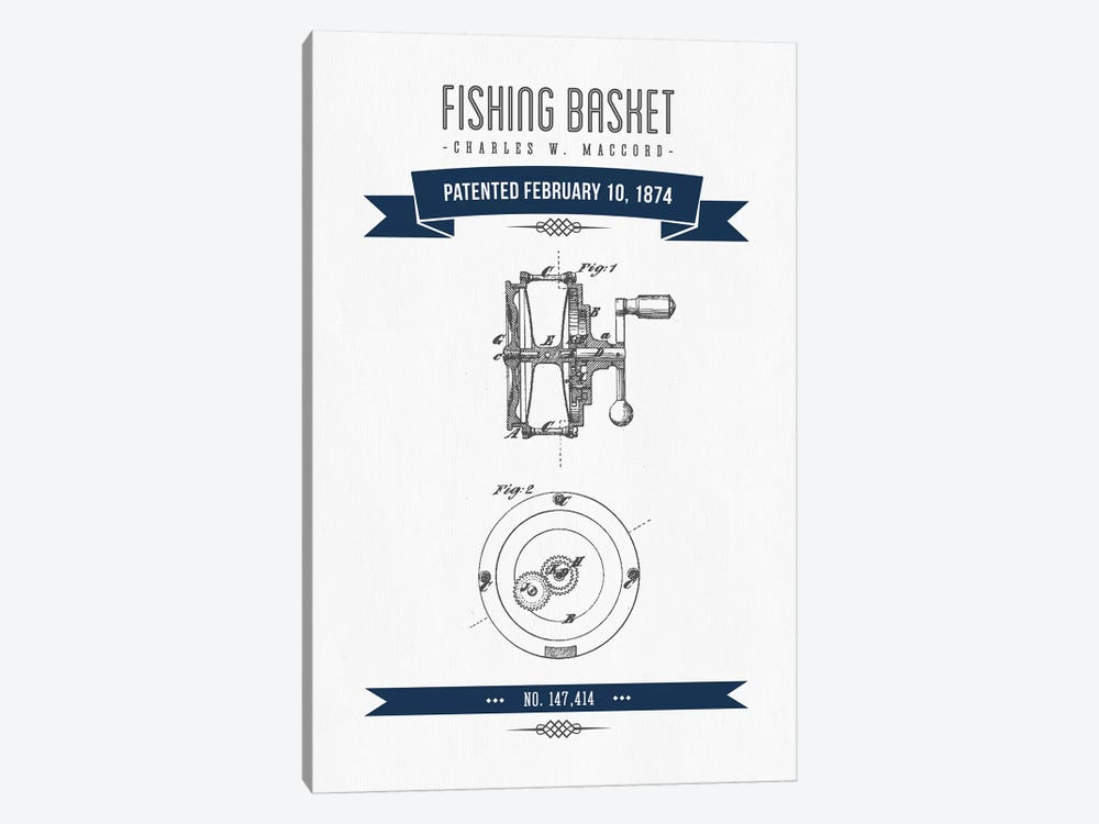 Charles W. MacCord Fishing Reel Patent Sketch Retro (Navy Blue) by Aged Pixel 1-piece Canvas Art