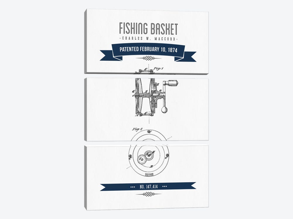 Charles W. MacCord Fishing Reel Patent Sketch Retro (Navy Blue) by Aged Pixel 3-piece Canvas Wall Art