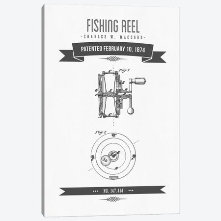 Charles W. MacCord Fishing Reel Patent Sketch Retro (Charcoal) Canvas Print #ADP2824} by Aged Pixel Canvas Print