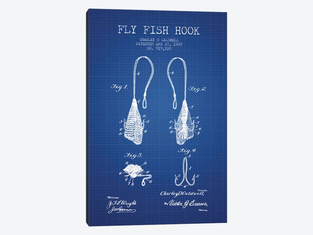 Charley D. Caldwell Fly Fish Hook Patent Sketch (Blue Grid) by Aged Pixel 1-piece Canvas Artwork