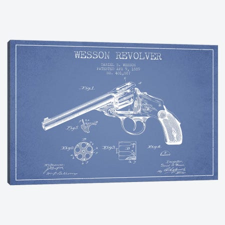 Daniel B. Wesson Revolver Patent Sketch (Light Blue) Canvas Print #ADP2828} by Aged Pixel Canvas Wall Art