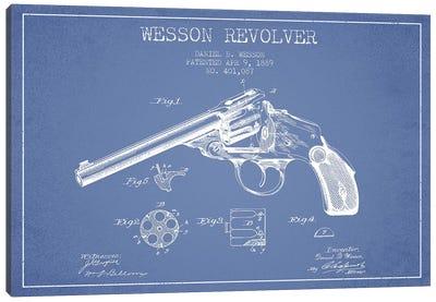 Daniel B. Wesson Revolver Patent Sketch (Light Blue) Canvas Art Print