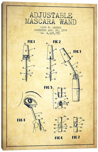 Adjustable Mascara Vintage Patent Blueprint Canvas Art Print