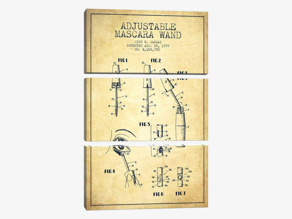 Adjustable Mascara Vintage Patent Blueprint by Aged Pixel 3-piece Canvas Wall Art