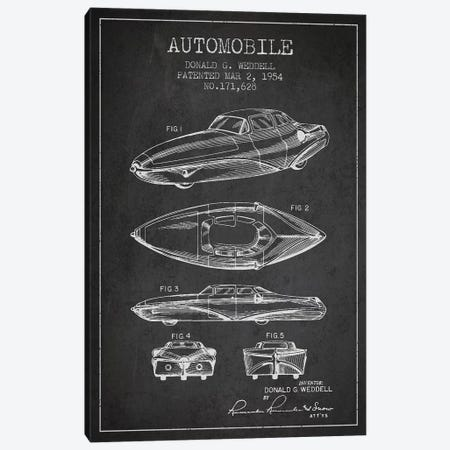 Donald G. Weddell Automobile Patent Sketch (Charcoal) Canvas Print #ADP2830} by Aged Pixel Art Print