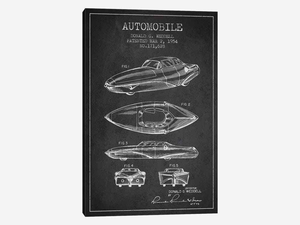 Donald G. Weddell Automobile Patent Sketch (Charcoal) by Aged Pixel 1-piece Canvas Wall Art