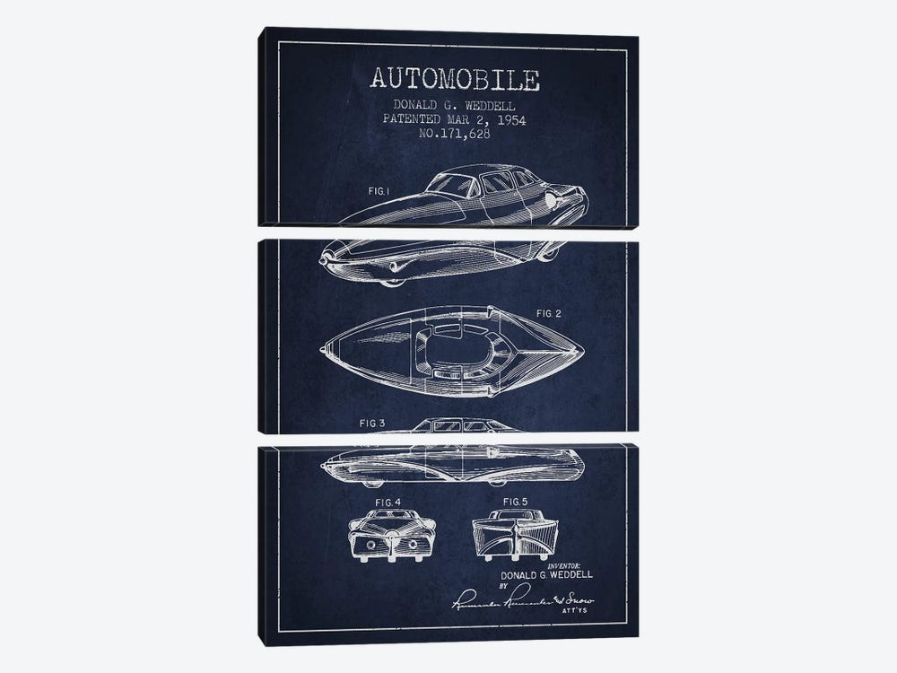 Donald G. Weddell Automobile Patent Sketch (Navy Blue) by Aged Pixel 3-piece Art Print