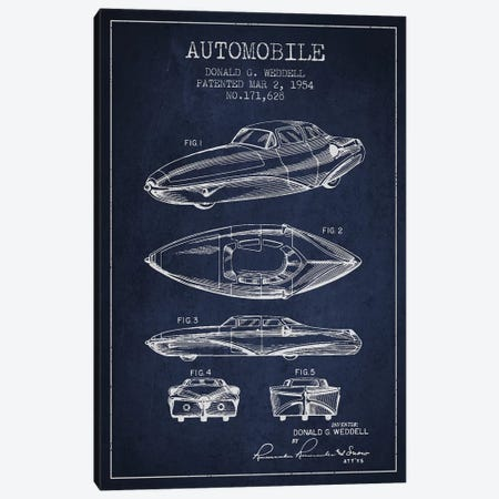 Donald G. Weddell Automobile Patent Sketch (Navy Blue) Canvas Print #ADP2831} by Aged Pixel Canvas Print