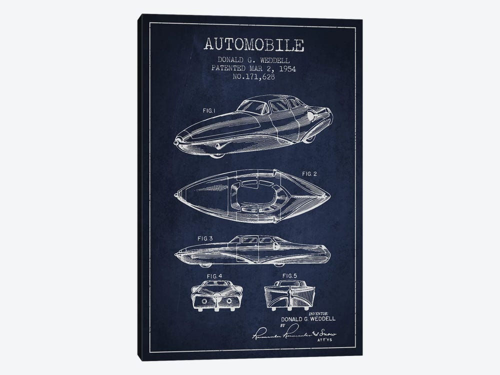 Donald G. Weddell Automobile Patent Sketch (Navy Blue) by Aged Pixel 1-piece Art Print