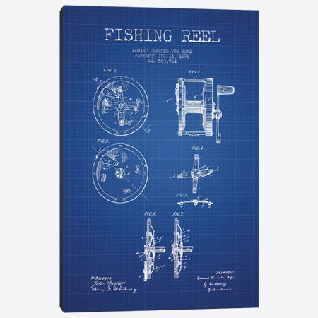 E.C. Vom Hofe Fishing Reel Patent Sketch (Blue Grid) Canvas Print #ADP2832} by Aged Pixel Art Print