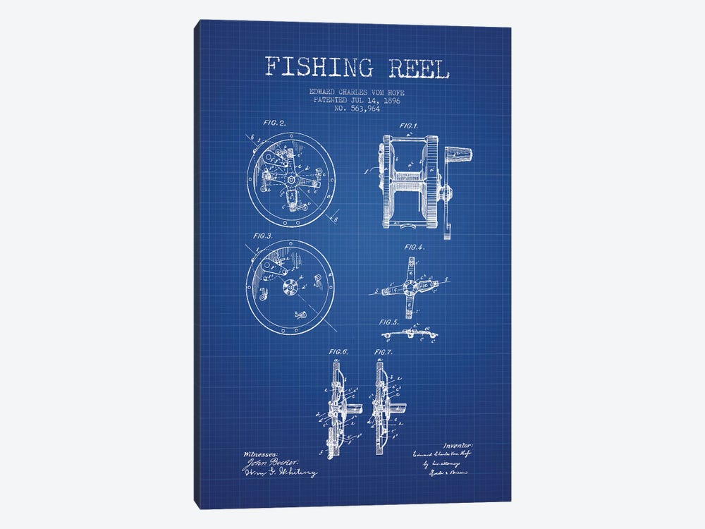 E.C. Vom Hofe Fishing Reel Patent Sketch (Blue Grid) by Aged Pixel 1-piece Canvas Artwork